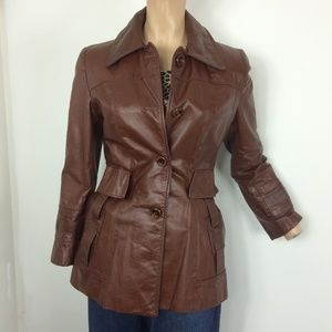 """VINTAGE 1970""""s Rusty Brown Leather Pocketed Blazer"""